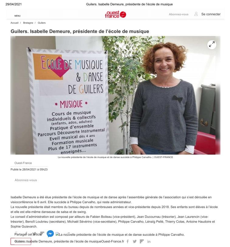 Nouvelle présidente EMDG - avril 2021 - Ouest-France